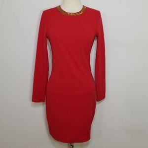 NWT H&M Red Beaded Bodycon Longsleeve Dress 6